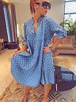 Женское джинсовое летнее платье в горох с воланами батал