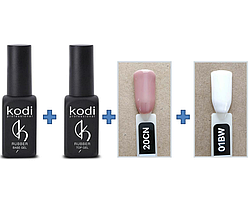 Набор гель лаков для Френча Kodi Professional, База+Топ+ Гель лак 2 шт