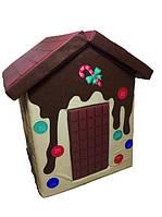 Мягкий детский игровой объемный домик с аппликациями разборный из матов для квартиры Фрукты 140х100х100 см