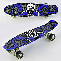 Детский Скейт (пенни борд) Penny board со светящимися колесами, 55х14.5 см до 70 кг АБСТРАКЦИЯ арт. 6510/99160