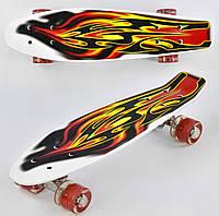 Детский Скейт (пенни борд) Penny board со светящимися колесами 56х14.5 см до 70 кг АБСТРАКЦИЯ арт. 4380/99160