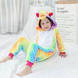 Детская пижама кигуруми радужный единорог 100 см, фото 2