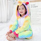 Детская пижама кигуруми радужный единорог 100 см, фото 3
