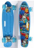 Детский Скейт (пенни борд) Penny board со светящимися колесами, 55х14.5 см, до 70 кг, ГОЛУБОЙ арт. 0749-6