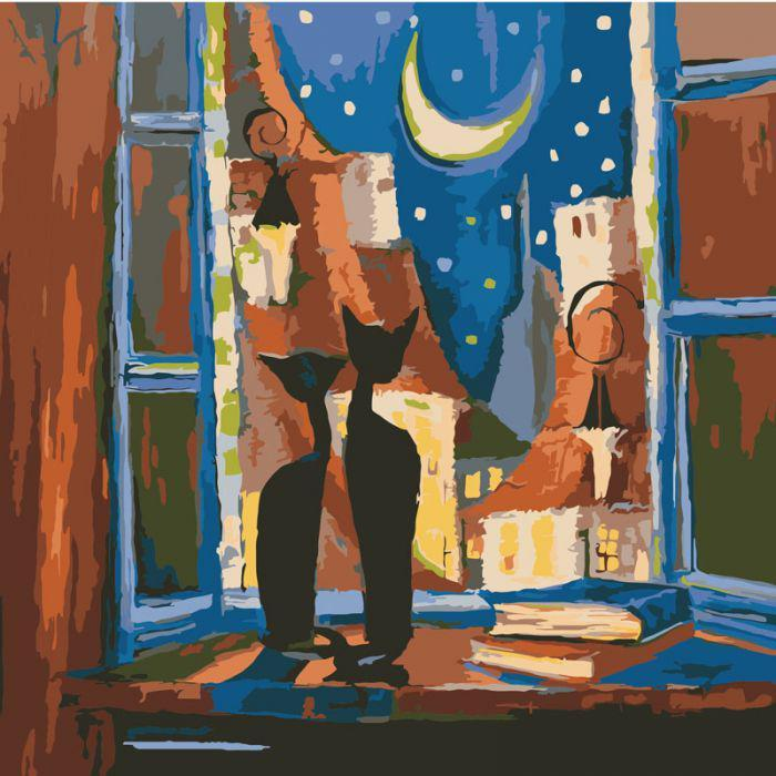 Картина по номерам Идейка КНО2439 Романтическая ночь 40х40см ідейка картины Городской пейзаж, дома
