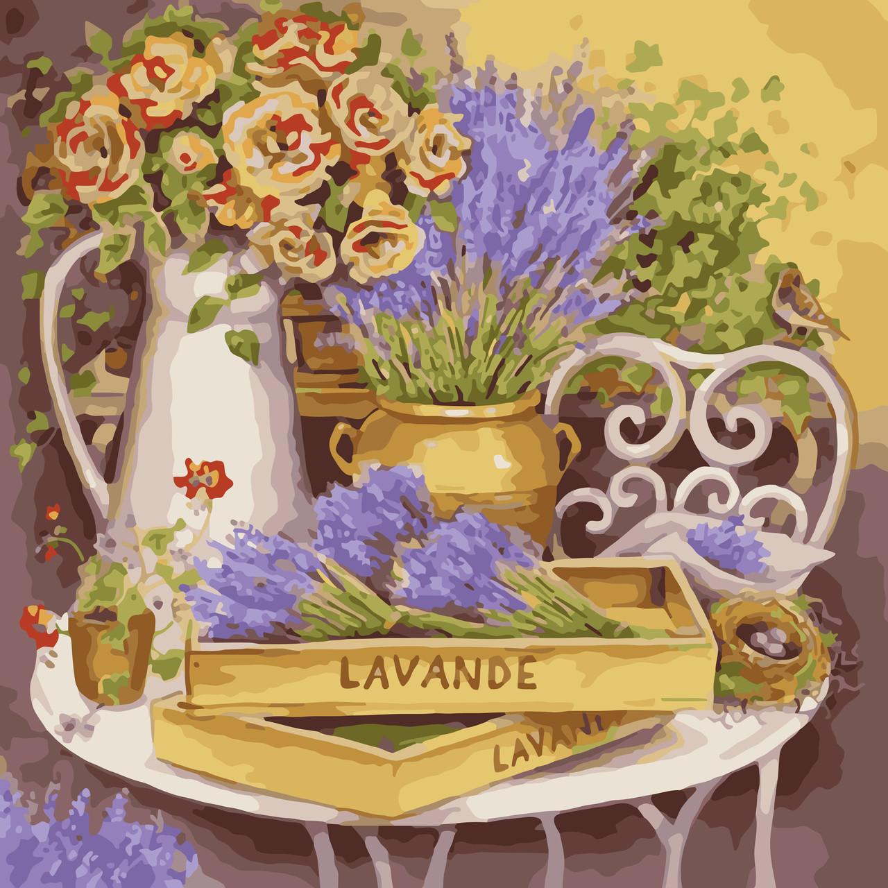 Картина по номерам Идейка КНО2030 Цветы прованса 40х40см ідейка картины Цветы, фрукты, натюрморты, еда