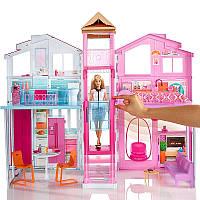 Детский игровой набор для кукол Барби Городской дом с 4 комнатами и мебелью Малибу Mattel Barbie Маттел
