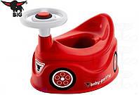 Детский Игрвоой Универсальный горшок для мальчиков с сигналом с рулем и спинкой фигурный BIG Биг красный