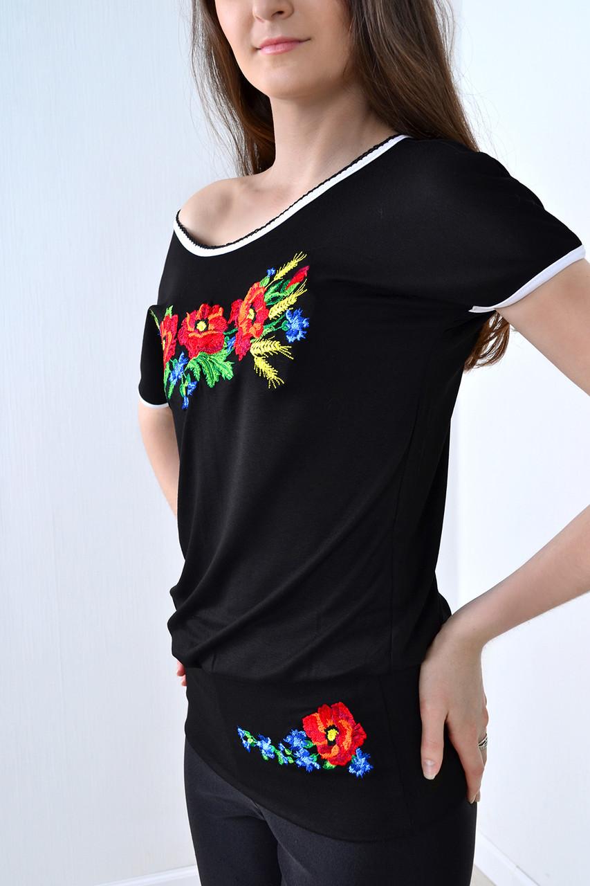 Традиционная женская вышитая футболка с маками и колоски
