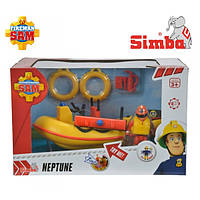 Детская Игрушка Для мальчиков Лодка Пожарного Сэма с фигуркой и световыми эффектами желтая Simba Симба
