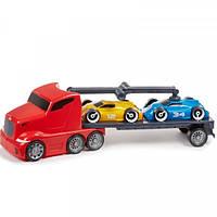 Детская Игрушка Для Мальчиков Машинка Магнитный автопогрузчик с двумя автомобилями красный Little Tikes