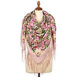 Соловьиные ночи 1891-3, павлопосадский платок шерстяной (двуниточная шерсть) с шелковой вязаной бахромой, фото 3