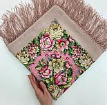 Соловьиные ночи 1891-3, павлопосадский платок шерстяной (двуниточная шерсть) с шелковой вязаной бахромой, фото 4