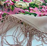 Соловьиные ночи 1891-3, павлопосадский платок шерстяной (двуниточная шерсть) с шелковой вязаной бахромой, фото 2