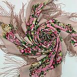 Соловьиные ночи 1891-3, павлопосадский платок шерстяной (двуниточная шерсть) с шелковой вязаной бахромой, фото 10
