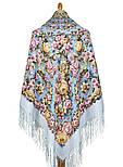 Соловьиные ночи 1891-1, павлопосадский платок шерстяной (двуниточная шерсть) с шелковой вязаной бахромой, фото 3