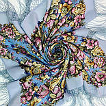 Соловьиные ночи 1891-1, павлопосадский платок шерстяной (двуниточная шерсть) с шелковой вязаной бахромой, фото 5