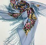 Соловьиные ночи 1891-1, павлопосадский платок шерстяной (двуниточная шерсть) с шелковой вязаной бахромой, фото 10