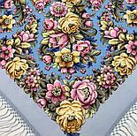 Соловьиные ночи 1891-1, павлопосадский платок шерстяной (двуниточная шерсть) с шелковой вязаной бахромой, фото 7