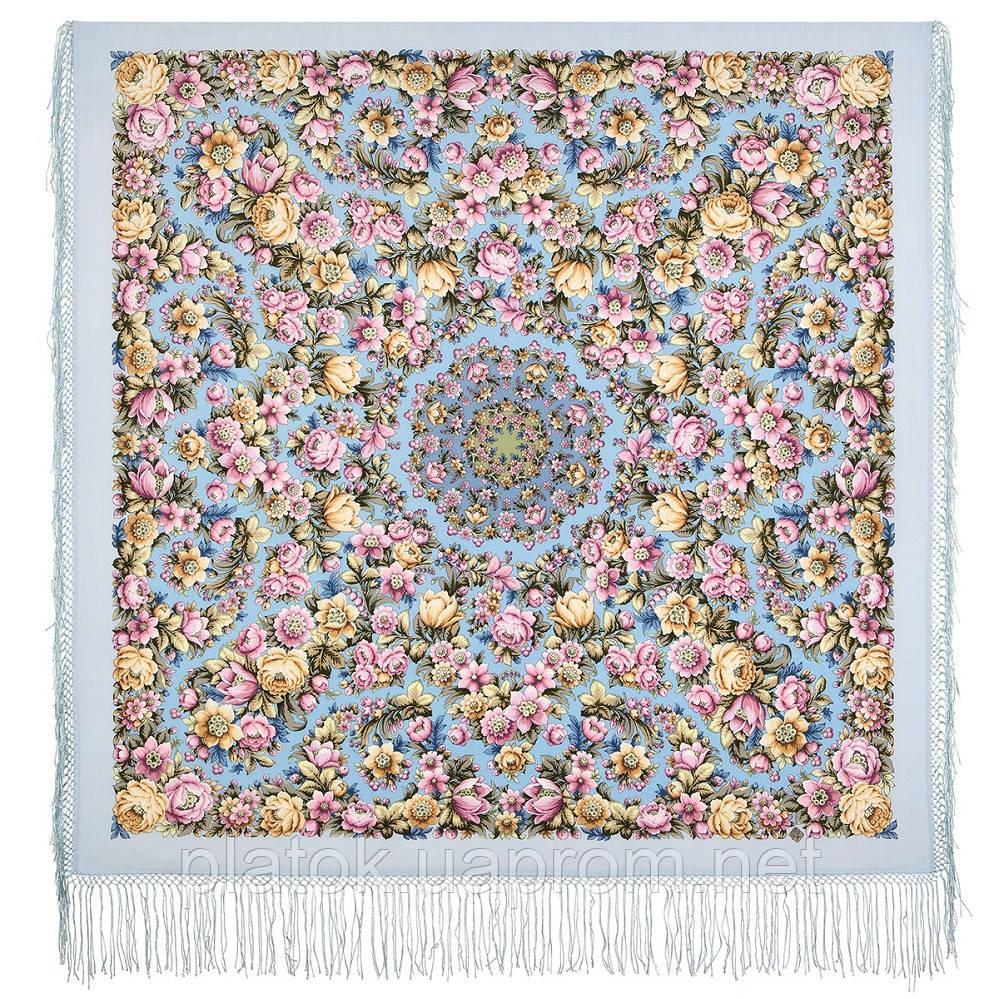 Соловьиные ночи 1891-1, павлопосадский платок шерстяной (двуниточная шерсть) с шелковой вязаной бахромой
