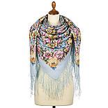 Соловьиные ночи 1891-1, павлопосадский платок шерстяной (двуниточная шерсть) с шелковой вязаной бахромой, фото 9