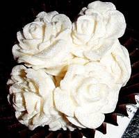"""Сахарное украшение для торта """"Розы маленькие перламутровые"""""""