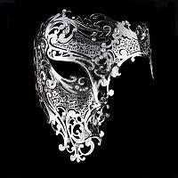 Маска карнавальная венецианская металлическая на один глаз Призрак Оперы_ серебро
