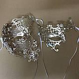 Маска карнавальная венецианская металлическая на один глаз Призрак Оперы_ серебро, фото 4