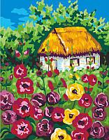 Набор-стандарт, акриловая живопись по номерам, ''Мальвы возле дома'', ROSA START