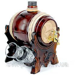 Бар-бочка подарочный элитный для алкоголя с рюмками Корабль 102-VAB