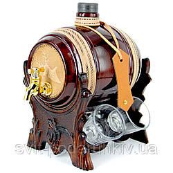 Мини-бар бочка со стопками подарочный Олень 102-VAD