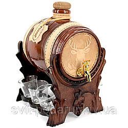 Мини бар-бочка элитный подарочный со стопками Олень 103-VAD