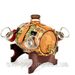 Мини-бар настольный подарочный бочка со стопками Корабли 103-MO