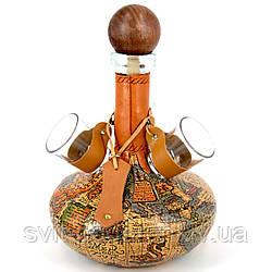 Набор подарочный бутылка с рюмками мини-бар эксклюзивный штоф Старинная карта 226-MO