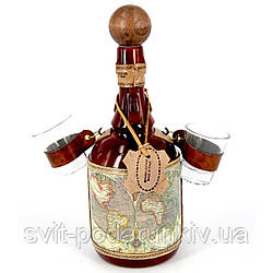 Мини бар бутылка подарочный штоф со стопками Старинная карта 659-MO