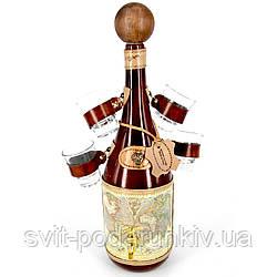Бутылка с рюмками для алкоголя мини-бар штоф подарочный Старая карта 661-MO