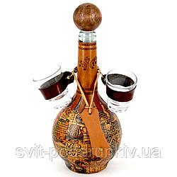 Мини-бар бутылка подарочный штоф со стопками Старая карта 664-MO