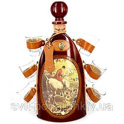 Набор эксклюзивный мини-бар бутылка подарочный штоф со стопками Охота 675-VA