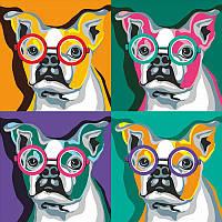 Набор, техника акриловая живопись по номерам, ''Собака в квадрате'', ROSA START