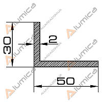 Уголок алюминиевый 50х30х2 мм анодированный ПАС-0098 (БПО-0921)
