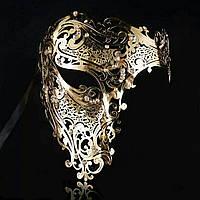 Маска карнавальная венецианская металлическая на один глаз Призрак Оперы_ золото