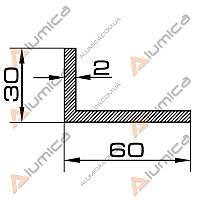 Уголок алюминиевый 60х30х2 мм анодированный БПО-1116
