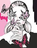 Набор, акриловая живопись по номерам, ''Девушка с бабочками'', ROSA START