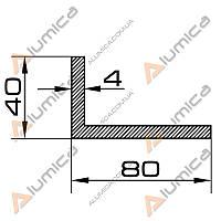 Уголок алюминиевый 80х40х4 мм без покрытия ПАС-1097 (БПО-0937)