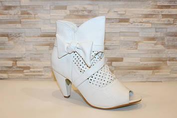 Сапоги летние женские белые на каблуке Б265 Уценка