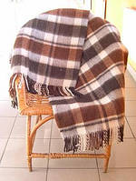 Плед полушерстяной бело-коричнево-терракотовый Метро Vladi
