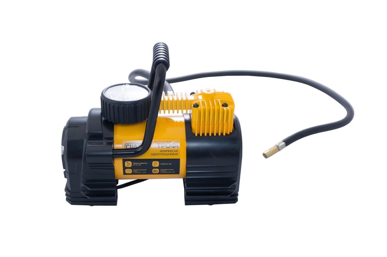 Миникомпрессор автомобильный Сила - 7 атм x 37 л/мин однопоршневой с фонариком (900414), (Оригинал)
