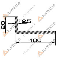 Уголок алюминиевый 100х20х2.5 мм анодированный БПО-1719
