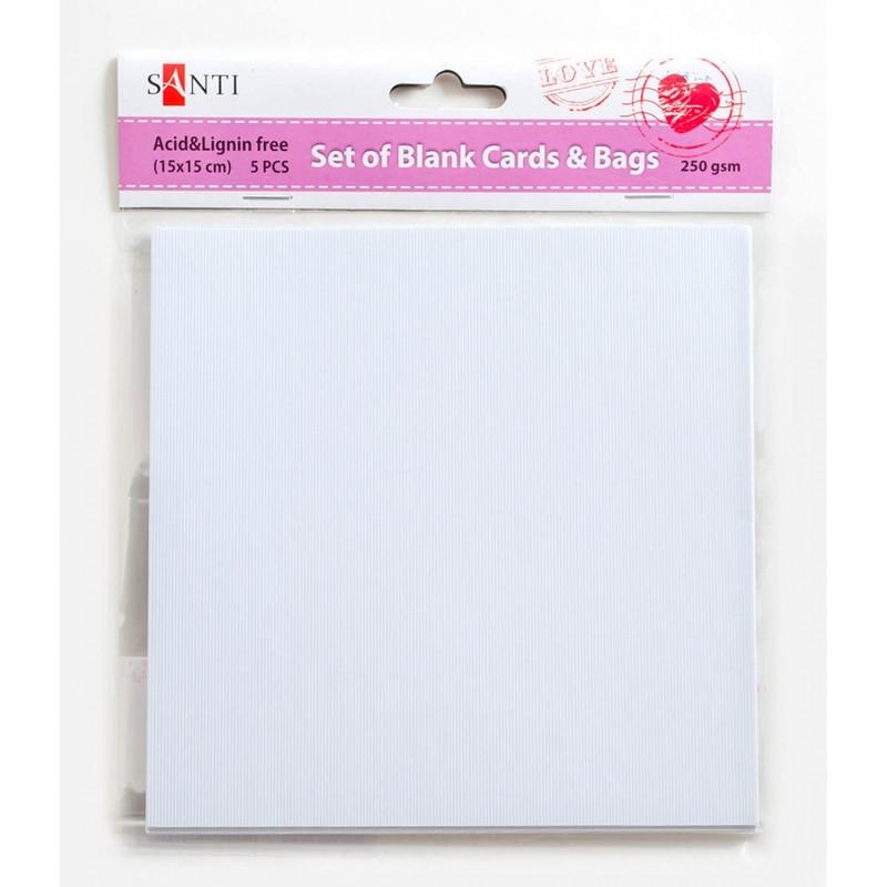 Набор белых текстурированных заготовок для открыток, 15смx15см, 250г/м2, 5шт.