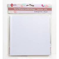 Набір білих перламутрових заготовок для листівок, 15смх15см, 250г/м2, 5шт.